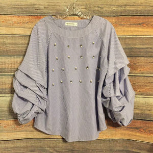 Roommates embellished puff sleeve striped top